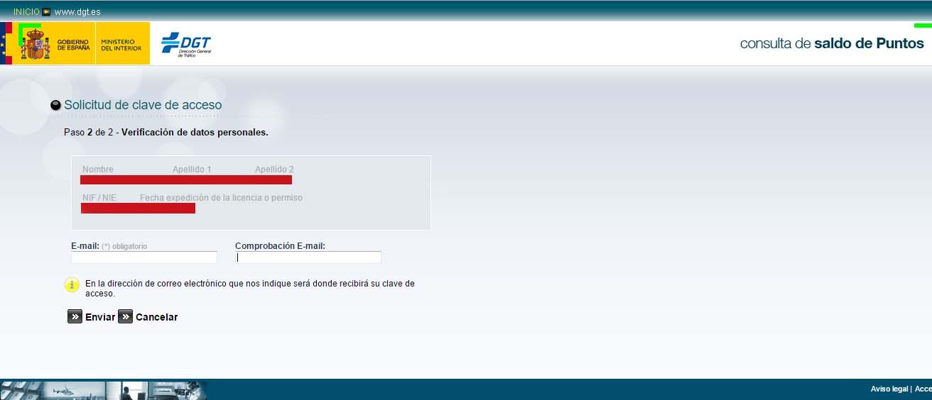 solicitud clave acceso verificacion