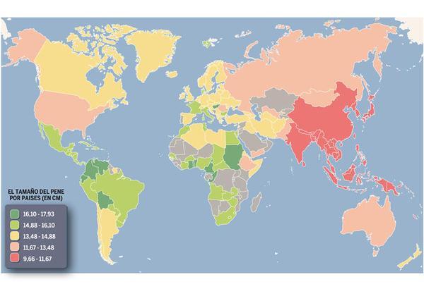 tamaño del pene por paises