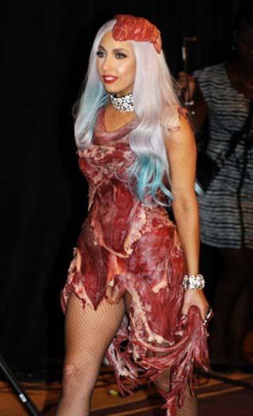vestido de carne lady gaga