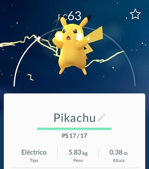 imagen de pikachu capturado en pokemon go