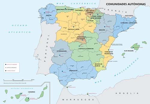 mapa comunidades autonomas tiene españa